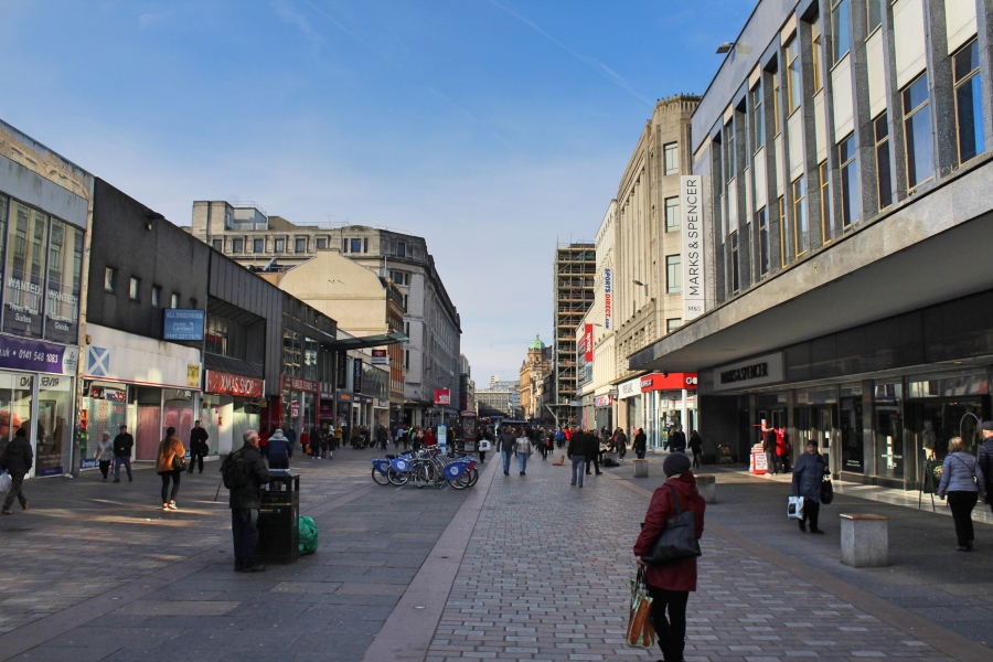 Street in Glasgow in Scotland
