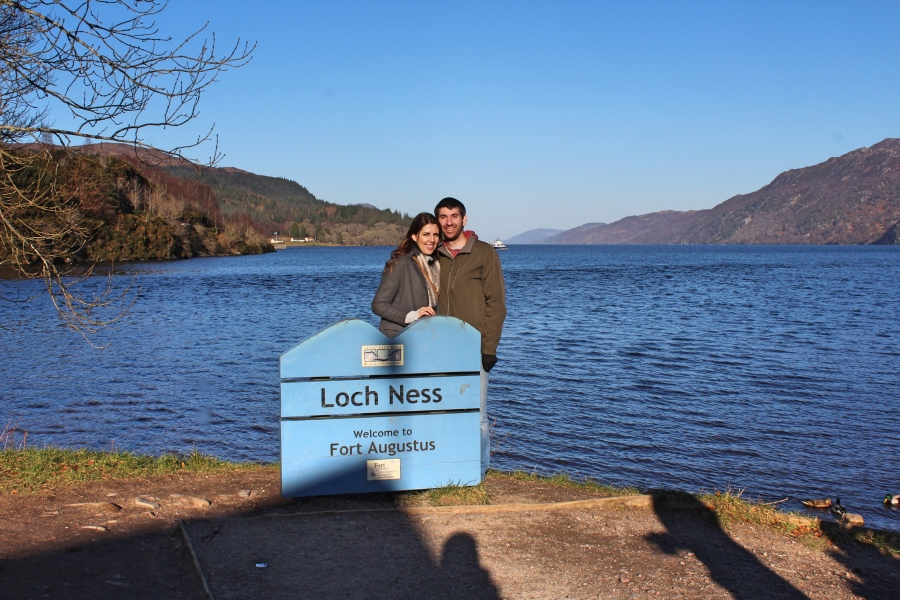 M&K behind Loch Ness sign in Scotland